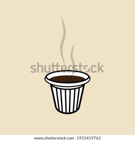 Colada. Shot of a Cuban style espresso served in a small, plastic cup. Takeaway coffee, one shot coffee. Cuban communities customary. Foto stock ©