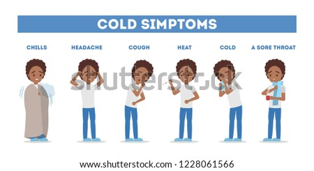Cold and flu symptoms infographic. Fever and cough, sore throat. Idea of medical treatment and healthcare. Flat vector illustration