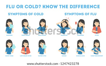Cold and flu symptoms infographic. Fever and cough, sore throat. Idea of medical treatment and healthcare. Difference between flu and cold. Flat vector illustration