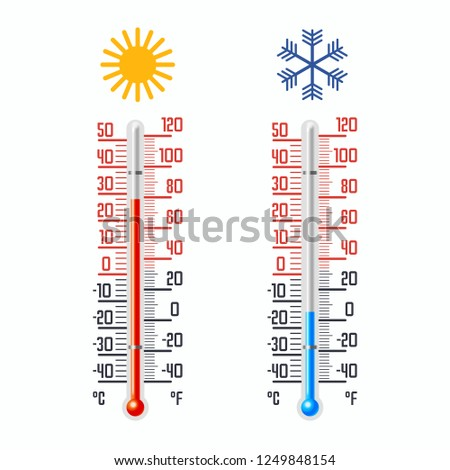 Cold and hot thermometer with celsius and fahrenheit scales. Icons for temperature measurement in weather science or medicine. Vertical gauge at summer and winter climate indicator