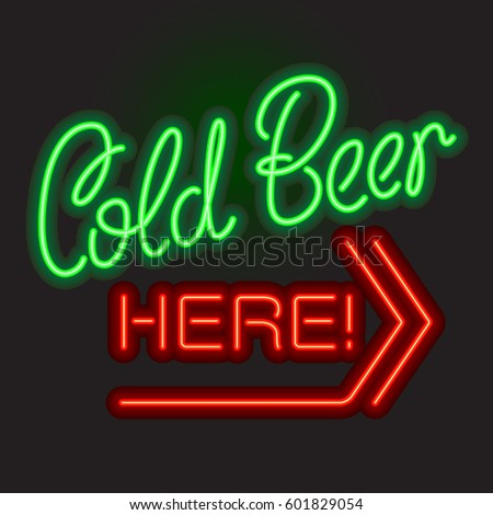 cold beer here neon sign board
