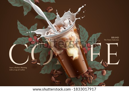 Cold brew coffee ads with retro style engraving over brown background in 3d illustration