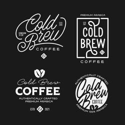 Cold brew coffee labels badges emblems set. Best for cafe, bar, chalkboard, print design, menu advertising. Vector vintage illustration.
