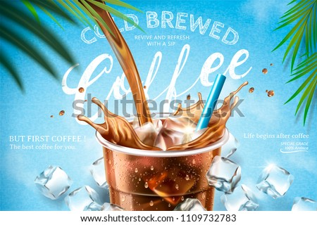 Cold brewed coffee pouring down from top into takeaway cup with ice cubes on light blue background in 3d illustration