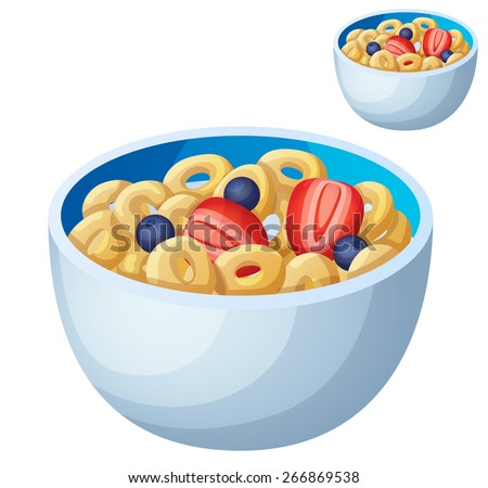 cold cereal isolated on white