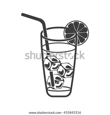 cold drink with ice cubes icon