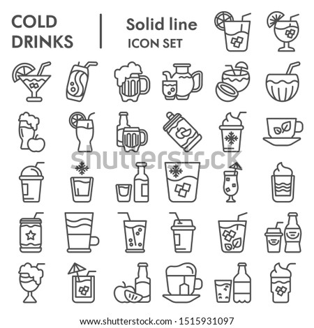 Cold drinks line icon set, summer beverages symbols collection, vector sketches, logo illustrations, alcoholic and non alcoholic drinks signs linear pictograms package eps 10