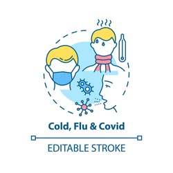 Cold, flu and covid concept icon. Contagious respiratory illness idea thin line illustration. Fever, chills, body aches and cough. Vector isolated outline RGB color drawing. Editable stroke