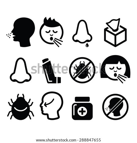 Cold, flu icons - nasal infection, allergy, nose design