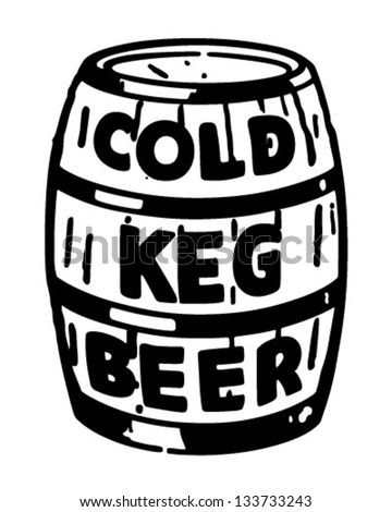 Cold Keg Beer - Retro Clip Art Illustration