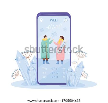 cold weather cartoon smartphone