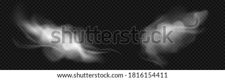 Cold wind effects with white smoke and flying snowflakes. Vector realistic set of frost blowing air, winter blizzard breeze. Flow of frozen fog clouds with snow isolated on transparent background