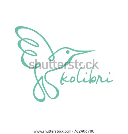 colibri logo vector  line art