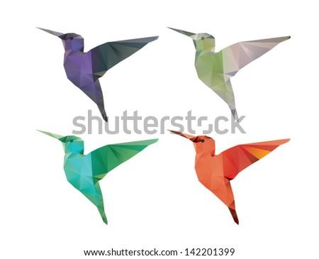 Stock Photo Colibri origami style vector polygonal illustration.
