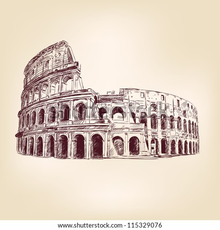 Coliseum  hand drawn  vector illustration  isolated