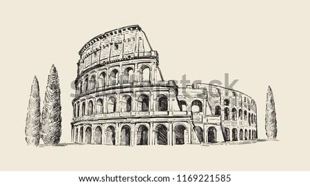 Coliseum in Italy. Hand drawn illustration. Rome. Famous historical landmark