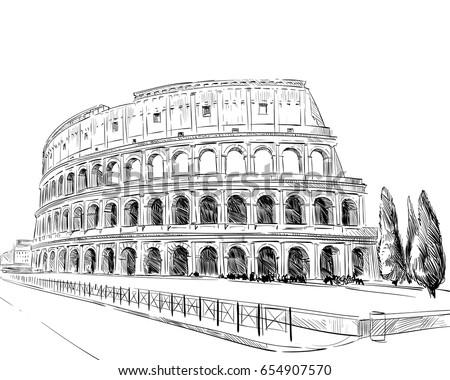 coliseum rome italy hand