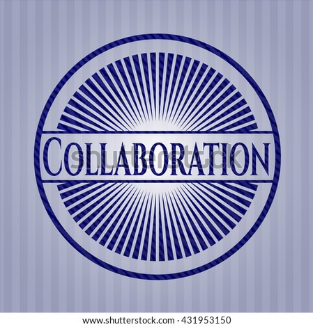 Collaboration badge with jean texture