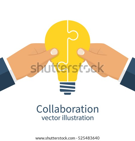 Collaboration concept. Completing business idea. Cooperation, teamwork. Successful solution puzzle. Symbol of partnership. Vector, flat design. Businessmen hold puzzle in hand connected in lightbulb.