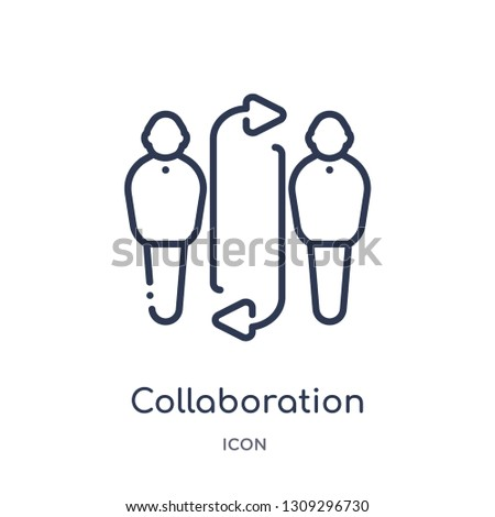 collaboration icon from strategy outline collection. Thin line collaboration icon isolated on white background.