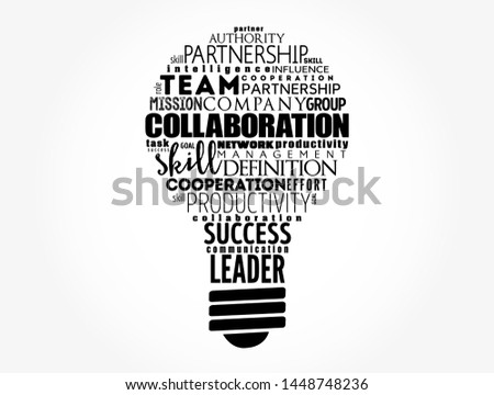 COLLABORATION light bulb word cloud collage, business concept background