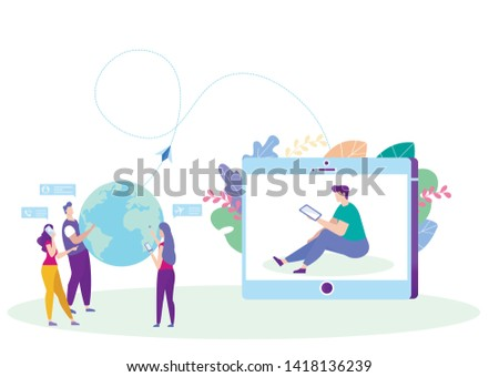 Collaboration on Distance Learning. Distance Learning. E-Learning. Online Training. Man with Tablet. New Technologies. Vector Illustration. Achive Goal. Man on Monitor Screen. Correspond with Teacher.