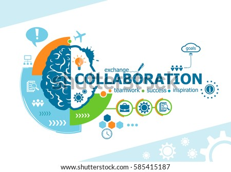 Collaboration related words and brain concept. Infographic business. Project for web banner and creative process.