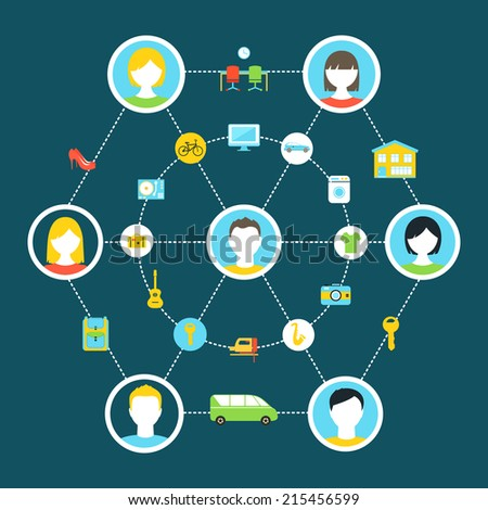 Collaborative Consumption and Shared Economy Concept Illustration Stock photo ©