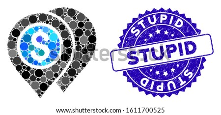 Collage bank map pointers icon and grunge stamp seal with Stupid text. Mosaic vector is designed with bank map pointers icon and with scattered circle elements. Stupid stamp seal uses blue color,