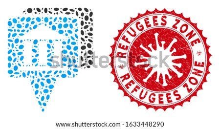 Collage bank map pointers icon and red round grunge stamp seal with Refugees Zone text and coronavirus symbol. Mosaic vector is composed with bank map pointers icon and with random elliptic items.