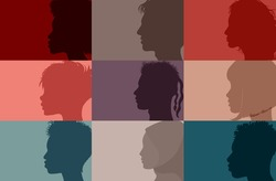 Collage community society diversity multiethnic people. Group side silhouette men and women of diverse culture and different countries. Harmony  friendship integration. Racial equality