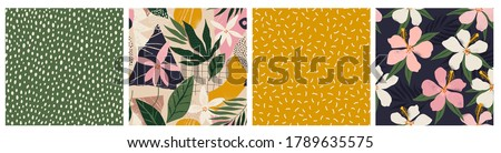 Collage contemporary floral and polka dot shapes seamless pattern set. Mid Century Modern Art design for paper, cover, fabric, interior decor and other users.