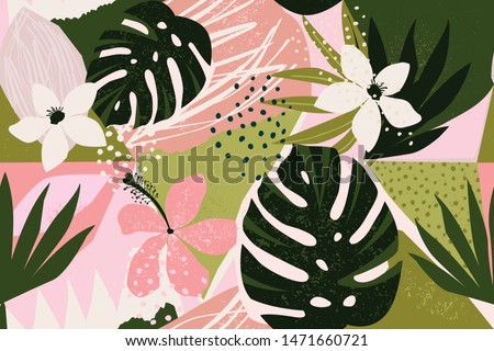 Collage contemporary floral seamless pattern. Modern exotic jungle fruits and plants illustration in vector.