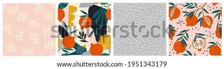 Collage contemporary garnet, pomegranate floral and polka dot shapes seamless pattern set. Modern exotic design for paper, cover, fabric, interior decor and other users.