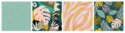 Collage contemporary tropical and polka dot shapes seamless pattern set. Mid Century Modern Art design for paper, cover, fabric, interior decor, and other users.