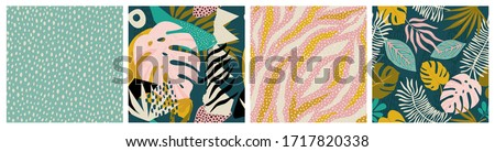Collage contemporary tropical and polka dot shapes seamless pattern set. Modern exotic design for paper, cover, fabric, interior decor and other users.