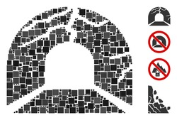 Collage Corrupted tunnel icon united from square items in random sizes and color hues. Vector square items are composed into abstract illustration corrupted tunnel icon. Bonus icons are placed.