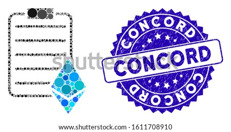 Collage Ethereum contract icon and distressed stamp seal with Concord phrase. Mosaic vector is composed with Ethereum contract icon and with scattered circle spots. Concord stamp seal uses blue color,