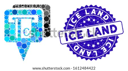 Collage Euro ATM pointers icon and grunge stamp seal with Ice Land caption. Mosaic vector is composed from Euro ATM pointers icon and with scattered circle spots. Ice Land stamp seal uses blue color,