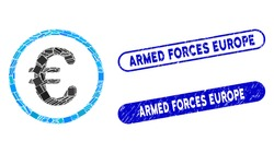 Collage Euro coin and rubber stamp seals with Armed Forces Europe text. Mosaic vector Euro coin is composed with randomized rectangle items. Armed Forces Europe stamp seals use blue color,
