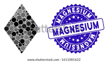 Collage filled rhombus icon and rubber stamp seal with Magnesium phrase. Mosaic vector is designed with filled rhombus icon and with scattered round elements. Magnesium stamp seal uses blue color,
