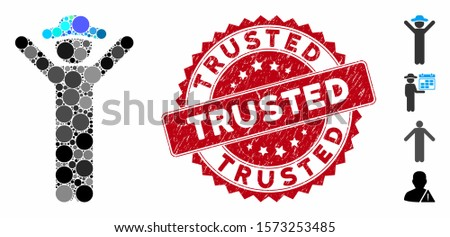 Collage happy gentleman icon and distressed stamp seal with Trusted text. Mosaic vector is composed with happy gentleman icon and with scattered round items. Trusted stamp seal uses red color,