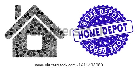 Collage home icon and rubber stamp seal with Home Depot text. Mosaic vector is formed with home icon and with random spheric items. Home Depot stamp seal uses blue color, and rubber design.