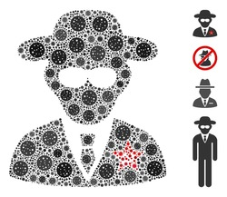 Collage KGB spy organized from SARS virus icons in various sizes and color hues. Vector viral icons are organized into abstract mosaic KGB spy icon. Some bonus icons are added.