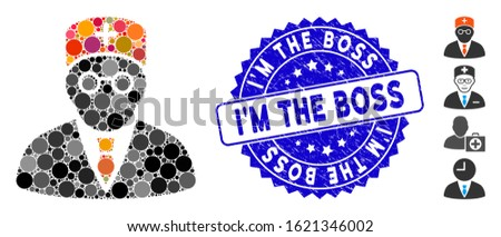 Collage main physician icon and distressed stamp seal with I'M the Boss caption. Mosaic vector is created with main physician icon and with random circle elements.