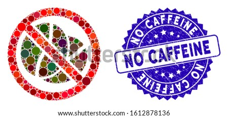 Collage no caffeine icon and grunge stamp seal with No Caffeine text. Mosaic vector is created with no caffeine pictogram and with scattered circle items. No Caffeine stamp seal uses blue color,