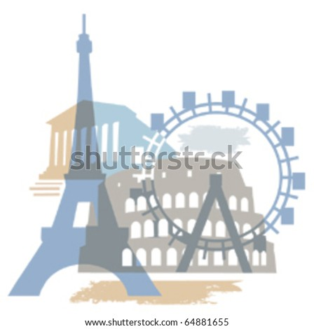 Collage of Famous European buildings, vector illustration.