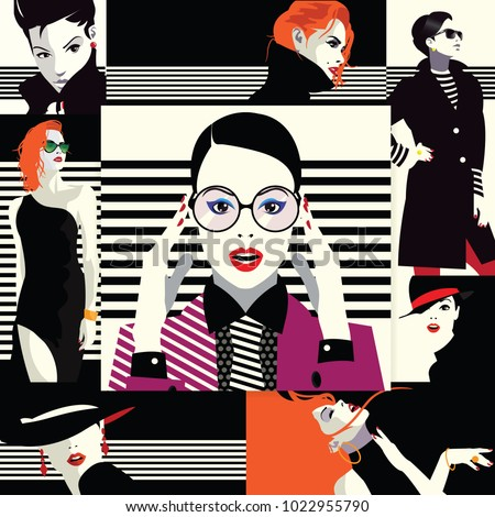 collage of fashion girls in