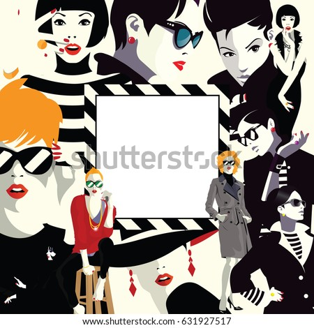 Collage of fashionable girls in style pop art. Vector illustration