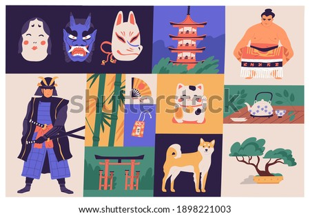Collage of Japanese national culture, art, sport and traditions. Traditional Japan buildings, bonsai tree, masks, Akita dog, sumo wrestler, samurai warrior and omamori with succes wish. Flat vector